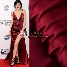 silk dresses burgundy elastic silk satin fabric lunss couture