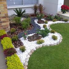 White Rock Garden Landscape Rocks Gravel Front Yard Landscaping With Rocks