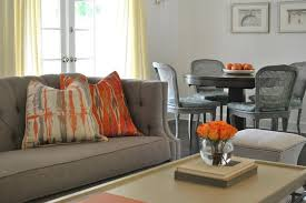 Orange Living Room Set Gray Sofa With Orange Pillows Contemporary Living Room