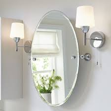 Beveled Mirrors For Bathroom Sophisticated Oval Vanity Mirror With Lights Idea Mirrors