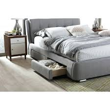 Gray Platform Bed Grey Fabric Upholstered 4 Drawer Queen Size Storage Platform Bed