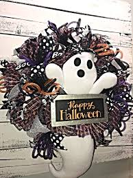 halloween wreath halloween ghost wreath for front door large