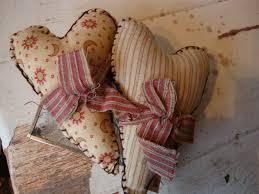 primitive shabby farmhouse chic mini fabric heart pillows bowl