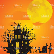 halloween background horror forest with woods spooky tree pumpkins