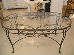 kitchen wrought iron glass dining table breakfast nook table