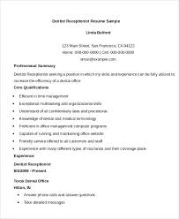 sample resume for receptionist position entry level medical