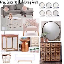 copper room decor gray copper blush living room decor mood board livingroom