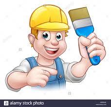 A Painter Decorator Handyman Cartoon Character Holding A