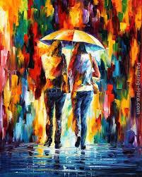 best painting leonid afremov friends under the rain painting best friends