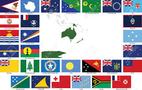 Flag Of All Countries Set Of Flags And Maps Of All Oceanian Countries And Dependent