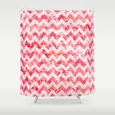 Pink Sparkle Curtains Glitter Chevron Shower Curtain