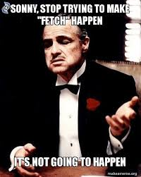 Stop Trying To Make Fetch Happen Meme - sonny stop trying to make fetch happen it s not going to happen