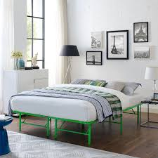 horizon queen stainless steel bed frame green by modway