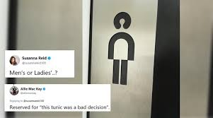 bathroom men twitterati s confused if this sign is meant for a men s bathroom