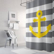 nautical shower curtain for boys and girls anchor and stripes