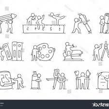 photostock vector cartoon icons set of sketch working little