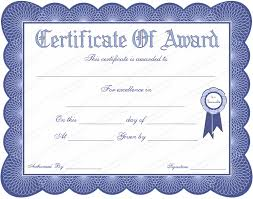 certificate template printable blue colored certificate of award