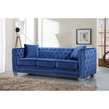 meridian furniture 648ltblu s reese light blue velvet sofa w