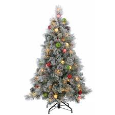 sterling 4 5 ft pre lit flocked needle pine tree