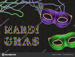 bead masks mardi gras tuesday theme background with green and purple
