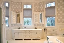 Bathroom Bay Window Hicks Hexagon Wallpaper Transitional Bathroom D2 Interieurs