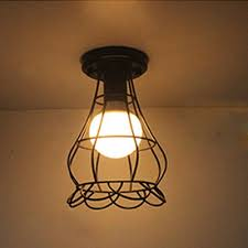 industrial flush mount light industrial flush mount ceiling light with flower shade metal cage in