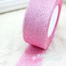 glitter ribbon wholesale 25 yards roll 40mm pink metallic glitter ribbon colorful gift