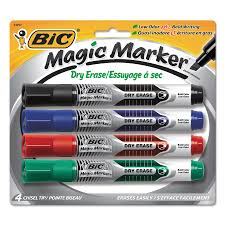 bic low odor and bold writing dry erase marker chisel tip 4 pack