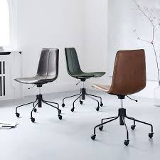 Real Leather Office Chair Slope Leather Swivel Office Chair West Elm