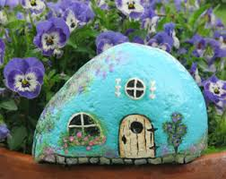 painted fairy garden cottage miniature rock house stone evler