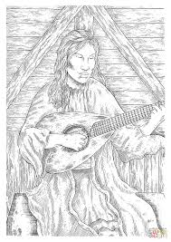 medieval peasant woman playing guitar coloring page free