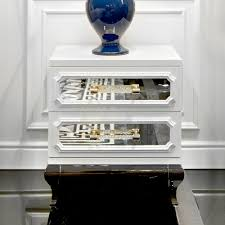 Mirrored Bedside Tables High End Modern White Mirrored Bedside Table Juliettes Interiors