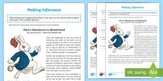 alice u0027s adventures wonderland inference activity sheet