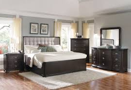 Upholstered King Size Bed Furniture Black Stained Wooden Kingsize Bed With Grey Tufted