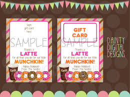 thanks a latte 5x7 printable gift dunkin