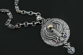 medallion necklace silver images Egyptian hawk two tone red blue zircons silver medallion pendant jpg