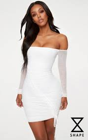 white bodycon dress shape white ruched mesh bodycon dress dress prettylittlething