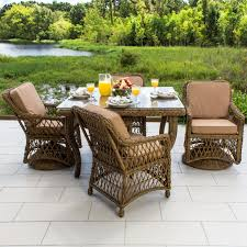 everglades 5 piece honey resin wicker patio dining set by lakeview