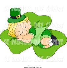 clip art of a cute st patricks day leprechaun toddler sleeping on