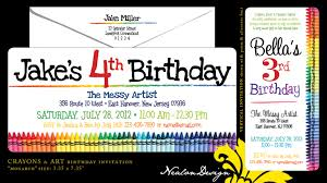 graphic design birthday invitations nealon design crayons u0026 art birthday invitation