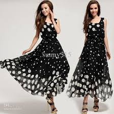elegant new fashion women sleeveless polka dot maxi dresses plus
