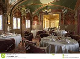 old antique restaurant interior with decorations royalty free