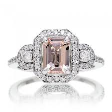 emerald cut engagement rings cut morganite engagement ring halo three band