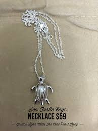 beautiful sterling silver sea turtle cage necklace free oyster