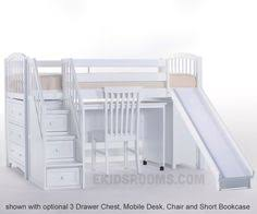 hit full size mid loft bed with stairs natural by maxtrix kids