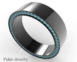 gold mens wedding bands black gold blue diamonds mens wedding band vidar jewelry