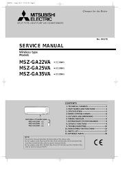 mitsubishi electric split type air conditioner service manual