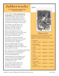 the jabberwocky 7th grade reading comprehension worksheet