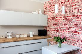 wallpaper for kitchen backsplash make a white subway tile