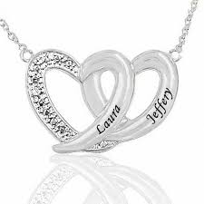 Personalized Heart Necklace Couple U0027s Engraved Diamond Accent Double Heart Necklace In Sterling